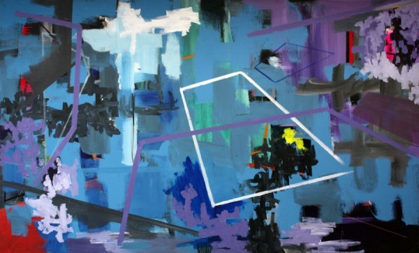 Composition in blue and purple  [Acrylic on canvas. 135 x 222 cm. 2011.]