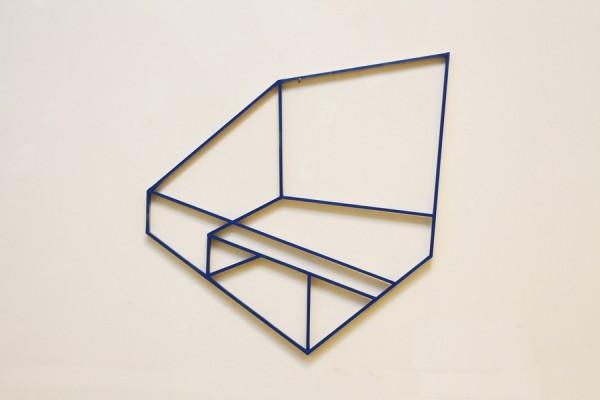 Blue box  [Wood construction. 69 x 69 x 1,8 cm. 2014. Sold.]